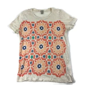 J Crew Womens Tshirt, Cream Geometric Pattern S